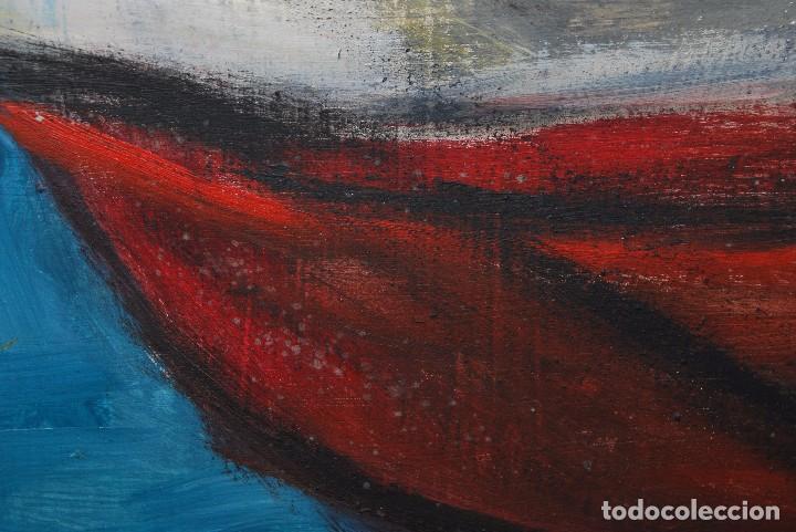 Arte: ÓLEO SOBRE TABLA - MARINA - BARCOS - FIRMADO Y FECHADO EN 1957 - GRAN TAMAÑO - Foto 12 - 86238384