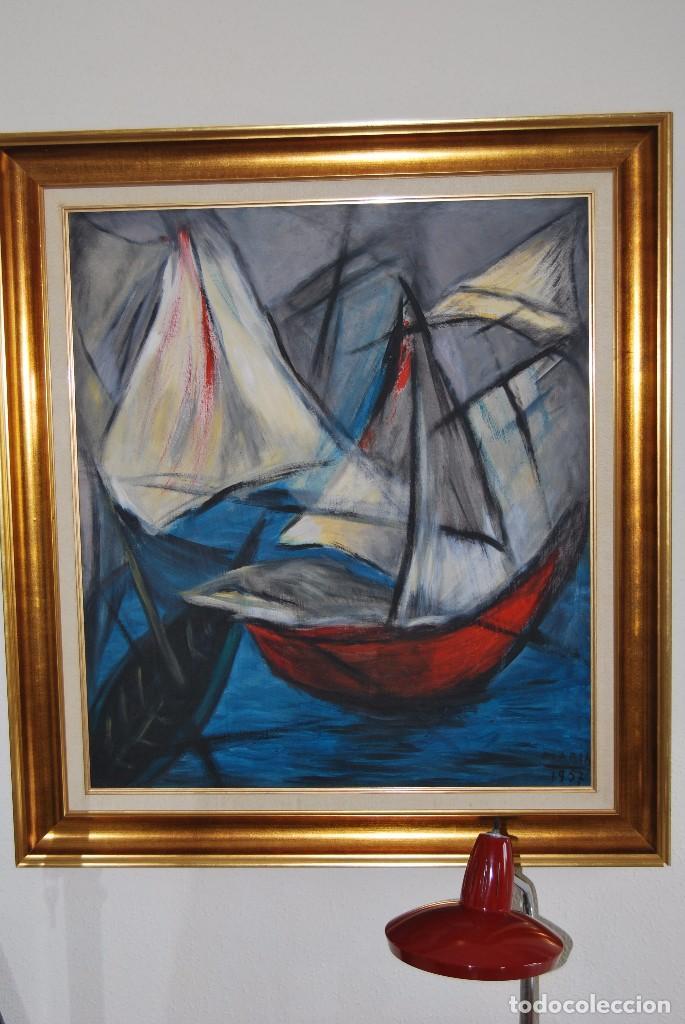 Arte: ÓLEO SOBRE TABLA - MARINA - BARCOS - FIRMADO Y FECHADO EN 1957 - GRAN TAMAÑO - Foto 13 - 86238384