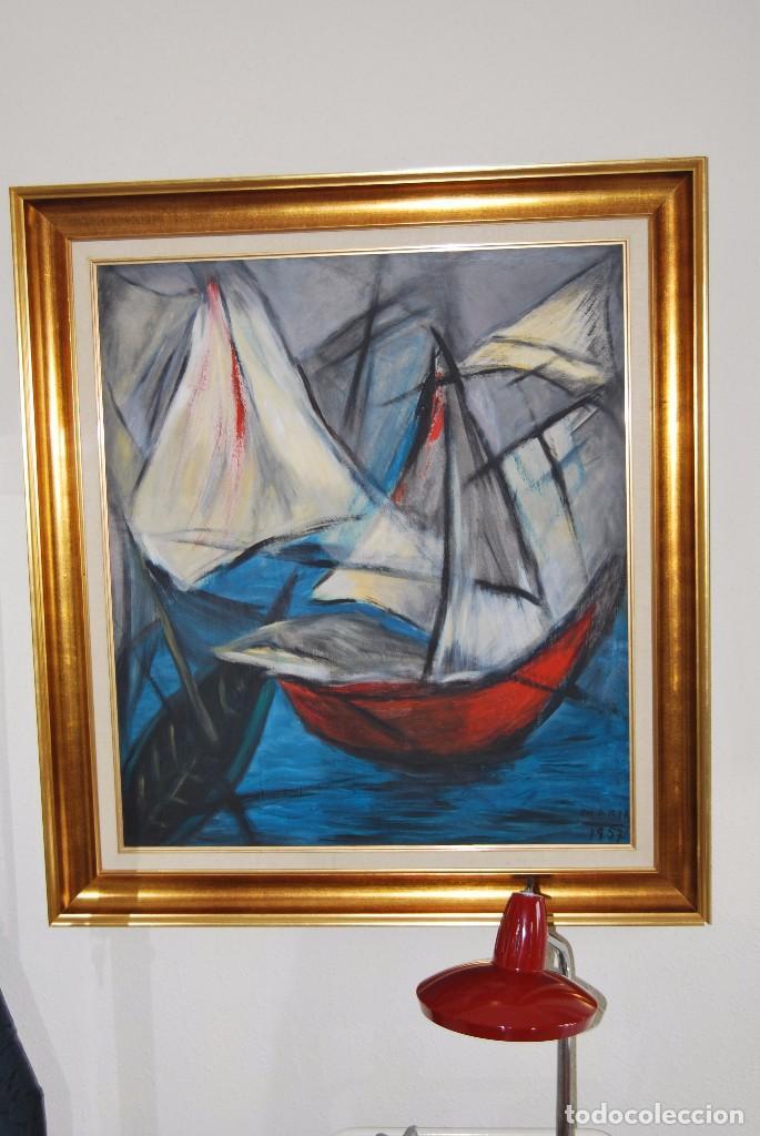 Arte: ÓLEO SOBRE TABLA - MARINA - BARCOS - FIRMADO Y FECHADO EN 1957 - GRAN TAMAÑO - Foto 14 - 86238384