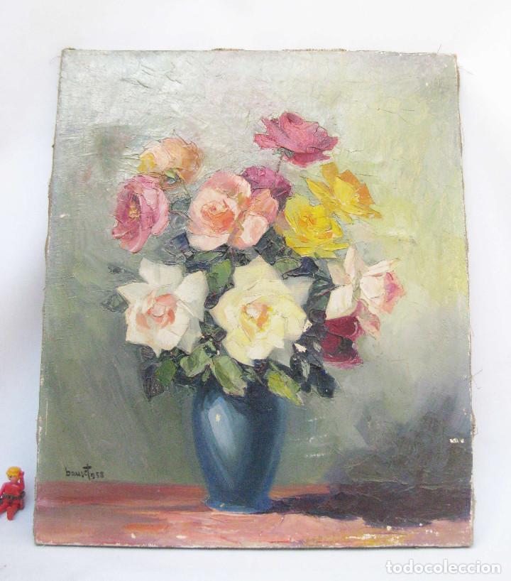 FANTASTICO OLEO SOBR ELIENZO MITICO ELEUTERIO BAUSET RIBES 1958 CARTELISTA REPUBLICANO VALENCIA (Arte - Pintura - Pintura al Óleo Contemporánea )