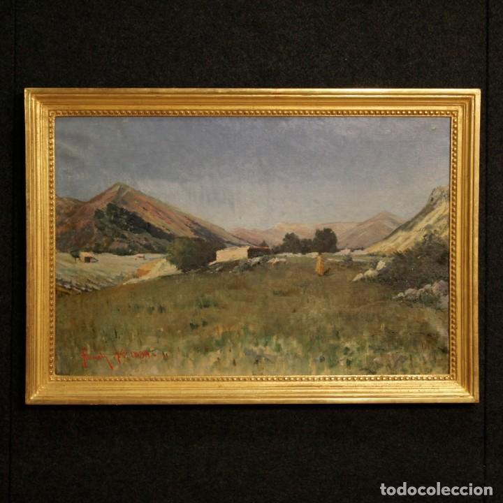 ANTIGUA PINTURA ITALIANA DEL PAISAJE CON CAZADOR FECHADO 1899 (Arte - Pintura - Pintura al Óleo Moderna siglo XIX)