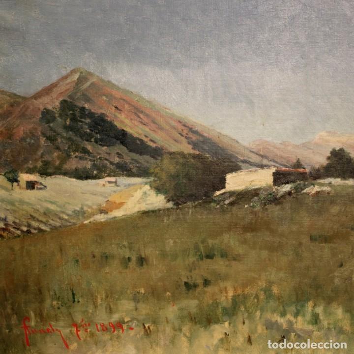 Arte: Antigua pintura italiana del paisaje con cazador fechado 1899 - Foto 2 - 86554944