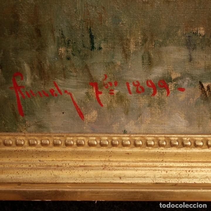 Arte: Antigua pintura italiana del paisaje con cazador fechado 1899 - Foto 3 - 86554944