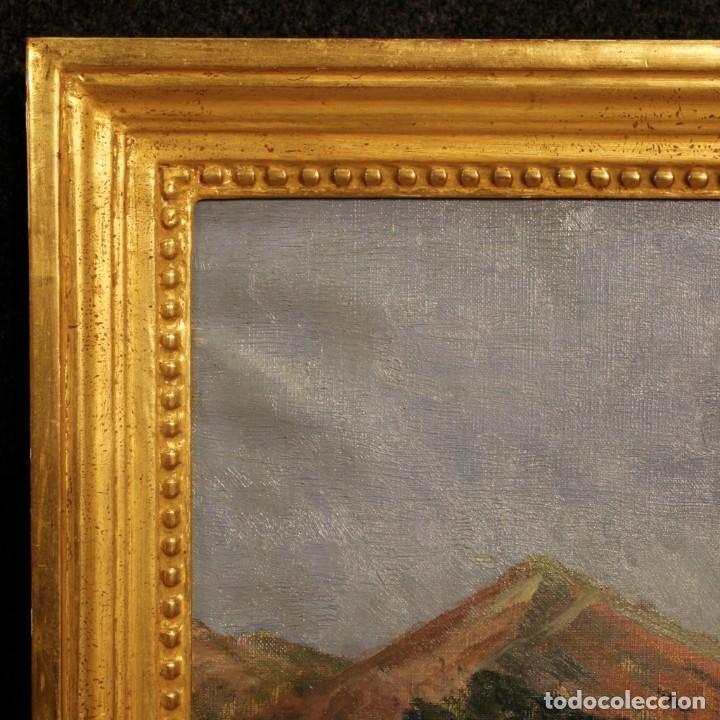 Arte: Antigua pintura italiana del paisaje con cazador fechado 1899 - Foto 4 - 86554944