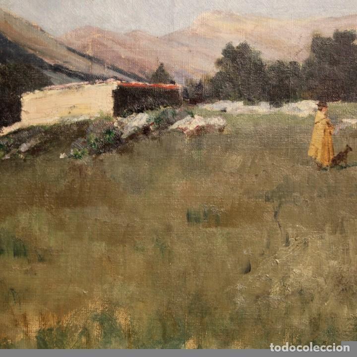 Arte: Antigua pintura italiana del paisaje con cazador fechado 1899 - Foto 5 - 86554944