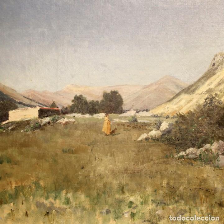 Arte: Antigua pintura italiana del paisaje con cazador fechado 1899 - Foto 6 - 86554944