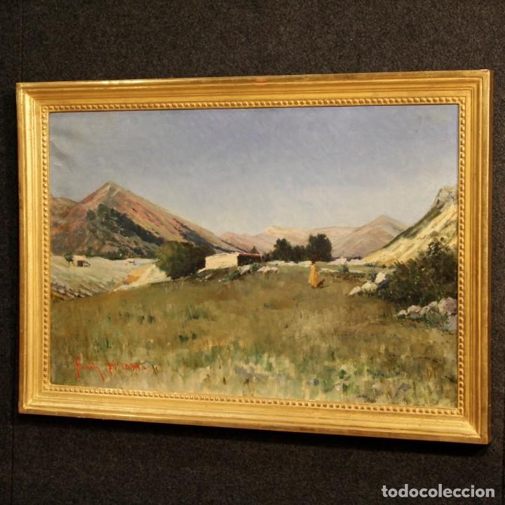 Arte: Antigua pintura italiana del paisaje con cazador fechado 1899 - Foto 7 - 86554944