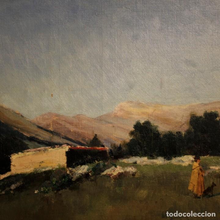 Arte: Antigua pintura italiana del paisaje con cazador fechado 1899 - Foto 9 - 86554944