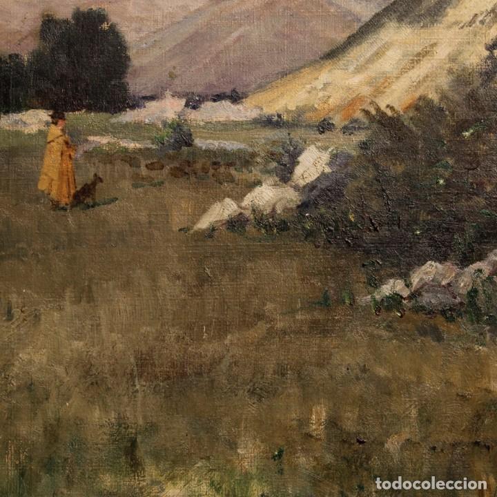 Arte: Antigua pintura italiana del paisaje con cazador fechado 1899 - Foto 12 - 86554944
