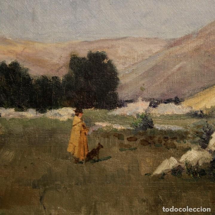 Arte: Antigua pintura italiana del paisaje con cazador fechado 1899 - Foto 13 - 86554944