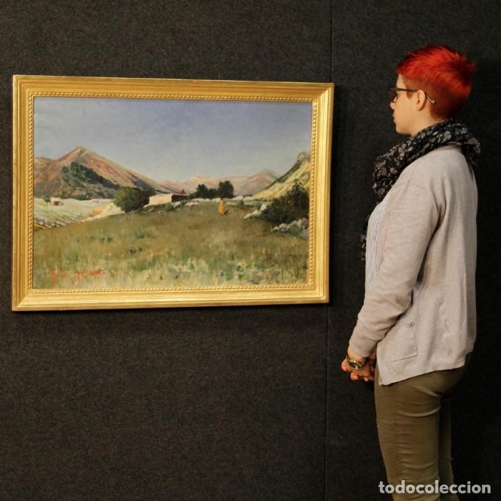 Arte: Antigua pintura italiana del paisaje con cazador fechado 1899 - Foto 16 - 86554944
