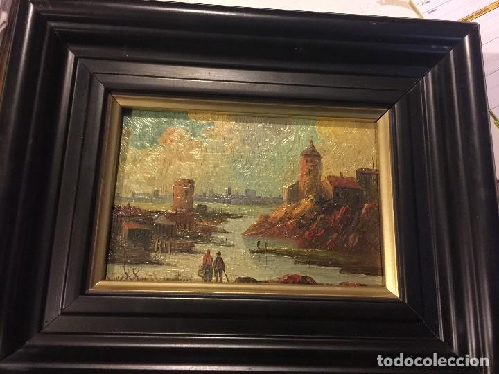 2 TABLAS PINTADAS ESCENAS DE PUERTOS (Arte - Pintura - Pintura al Óleo Antigua sin fecha definida)
