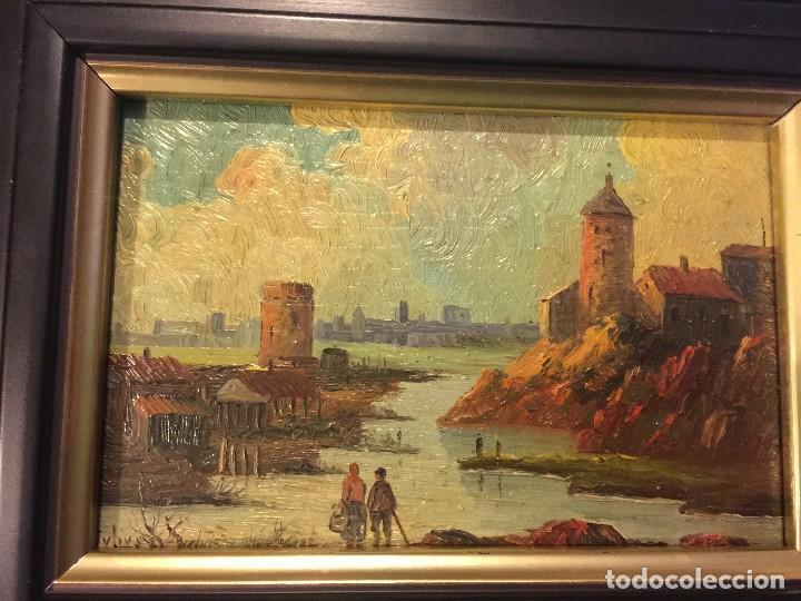 Arte: 2 tablas pintadas escenas de puertos - Foto 2 - 86664636
