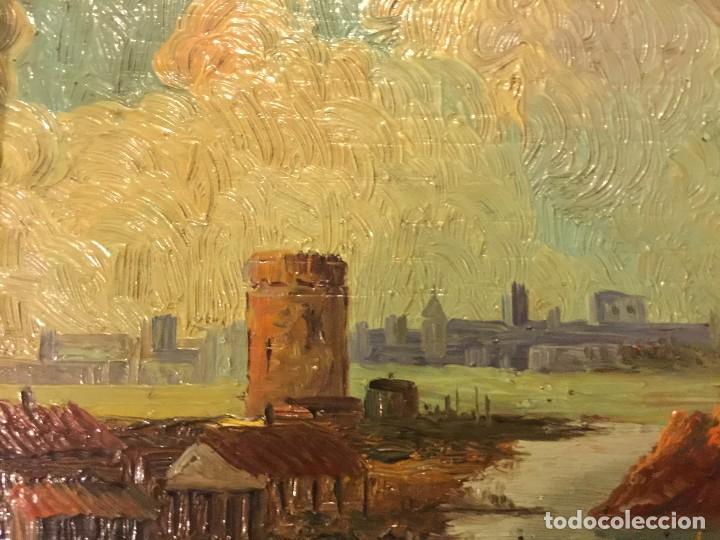 Arte: 2 tablas pintadas escenas de puertos - Foto 3 - 86664636