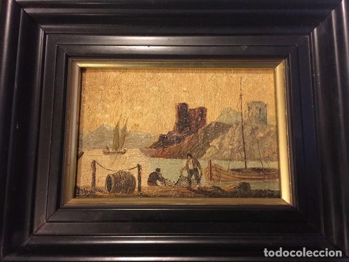 Arte: 2 tablas pintadas escenas de puertos - Foto 5 - 86664636