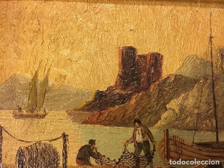 Arte: 2 tablas pintadas escenas de puertos - Foto 6 - 86664636