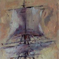 Arte: EXCELENTE MINIATURA MARINA PINTADA AL ÓLEO. OBRA ORIGINAL . Lote 86798172