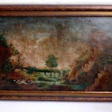 Arte: PAISAJE COSTUMBRISTA SIGLO XVIII, ÓLEO SOBRE LIENZO, ESCUELA ESPAÑOLA. Lote 86841636