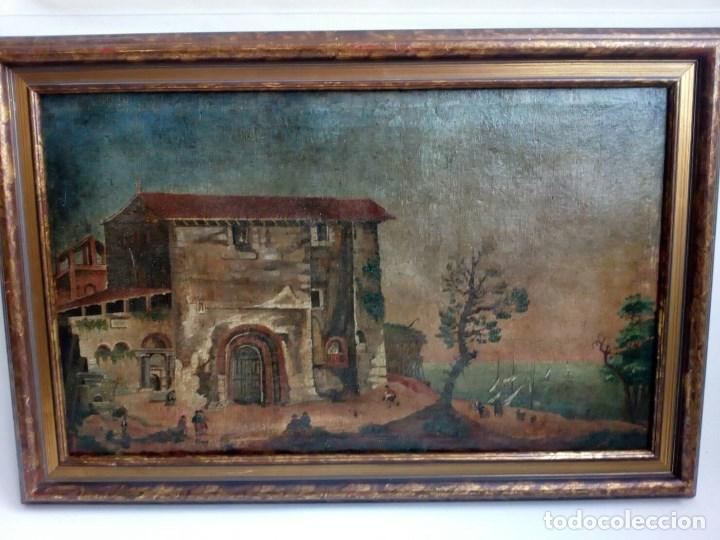 PAISAJE COSTUMBRISTA SIGLO XVIII, ÓLEO SOBRE LIENZO, ESCENA MARINA, ESCUELA ESPAÑOLA (Arte - Pintura - Pintura al Óleo Antigua siglo XVIII)