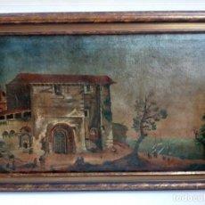 Arte: PAISAJE COSTUMBRISTA SIGLO XVIII, ÓLEO SOBRE LIENZO, ESCENA MARINA, ESCUELA ESPAÑOLA. Lote 86843164