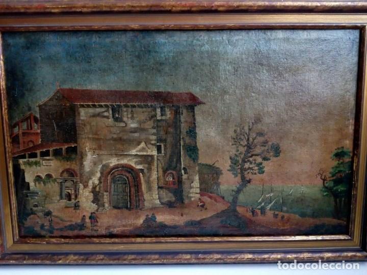 Arte: PAISAJE COSTUMBRISTA SIGLO XVIII, ÓLEO SOBRE LIENZO, ESCENA MARINA, ESCUELA ESPAÑOLA - Foto 2 - 86843164