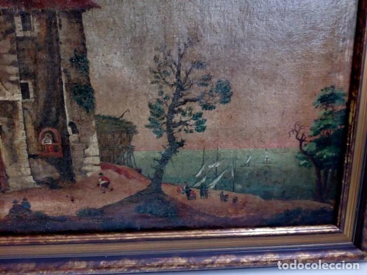Arte: PAISAJE COSTUMBRISTA SIGLO XVIII, ÓLEO SOBRE LIENZO, ESCENA MARINA, ESCUELA ESPAÑOLA - Foto 4 - 86843164
