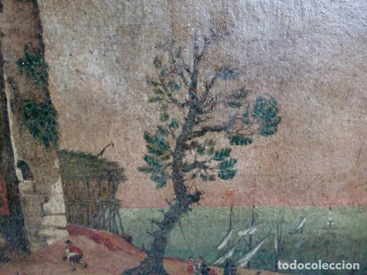Arte: PAISAJE COSTUMBRISTA SIGLO XVIII, ÓLEO SOBRE LIENZO, ESCENA MARINA, ESCUELA ESPAÑOLA - Foto 5 - 86843164