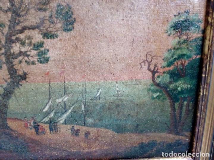 Arte: PAISAJE COSTUMBRISTA SIGLO XVIII, ÓLEO SOBRE LIENZO, ESCENA MARINA, ESCUELA ESPAÑOLA - Foto 7 - 86843164