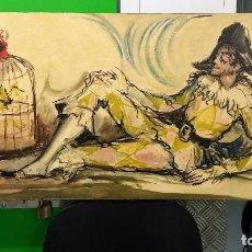 Arte: PIERROT - VIRGILIO GALÁN ROMÁN (MÁLAGA, 1931 - 2001) OLEO SOBRE TABLA. Lote 86872356