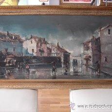 Arte: A. RUBIO.OLEO SOBRE LIENZO EN BASTIDOR. LLUVIAS. ENMARCADO. 113 CM. X 63 CM. Lote 87164700