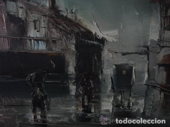 Arte: A. RUBIO.OLEO SOBRE LIENZO EN BASTIDOR. LLUVIAS. ENMARCADO. 113 CM. X 63 CM - Foto 2 - 87164700