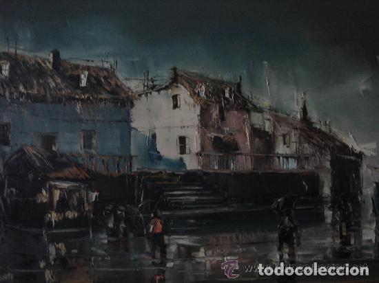 Arte: A. RUBIO.OLEO SOBRE LIENZO EN BASTIDOR. LLUVIAS. ENMARCADO. 113 CM. X 63 CM - Foto 3 - 87164700