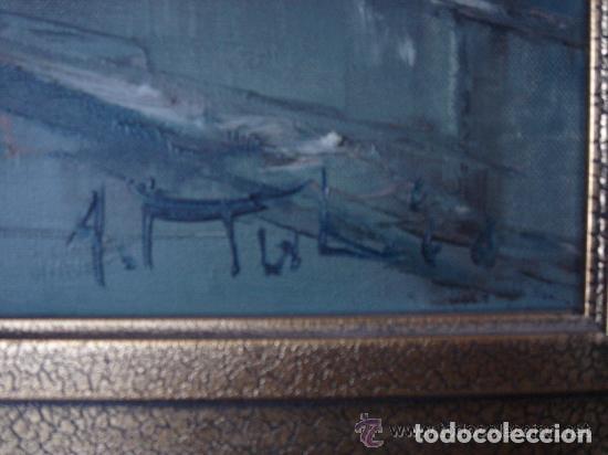 Arte: A. RUBIO.OLEO SOBRE LIENZO EN BASTIDOR. LLUVIAS. ENMARCADO. 113 CM. X 63 CM - Foto 4 - 87164700