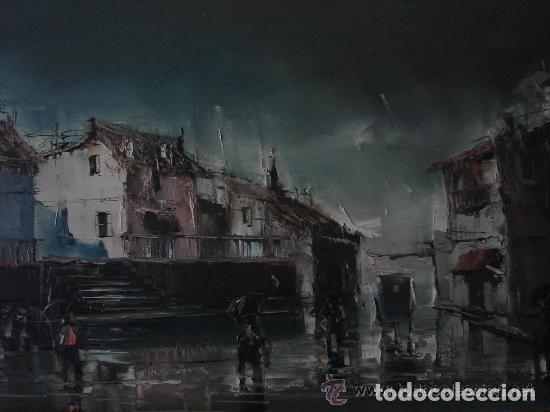 Arte: A. RUBIO.OLEO SOBRE LIENZO EN BASTIDOR. LLUVIAS. ENMARCADO. 113 CM. X 63 CM - Foto 5 - 87164700