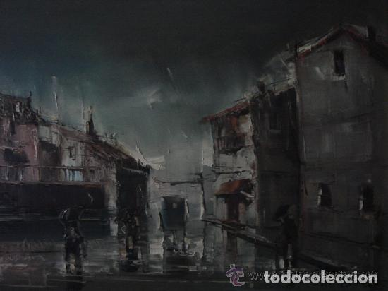 Arte: A. RUBIO.OLEO SOBRE LIENZO EN BASTIDOR. LLUVIAS. ENMARCADO. 113 CM. X 63 CM - Foto 6 - 87164700