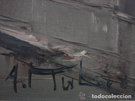 Arte: A. RUBIO.OLEO SOBRE LIENZO EN BASTIDOR. LLUVIAS. ENMARCADO. 113 CM. X 63 CM - Foto 7 - 87164700