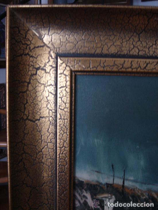 Arte: A. RUBIO.OLEO SOBRE LIENZO EN BASTIDOR. LLUVIAS. ENMARCADO. 113 CM. X 63 CM - Foto 8 - 87164700