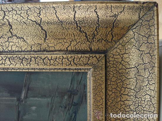 Arte: A. RUBIO.OLEO SOBRE LIENZO EN BASTIDOR. LLUVIAS. ENMARCADO. 113 CM. X 63 CM - Foto 10 - 87164700