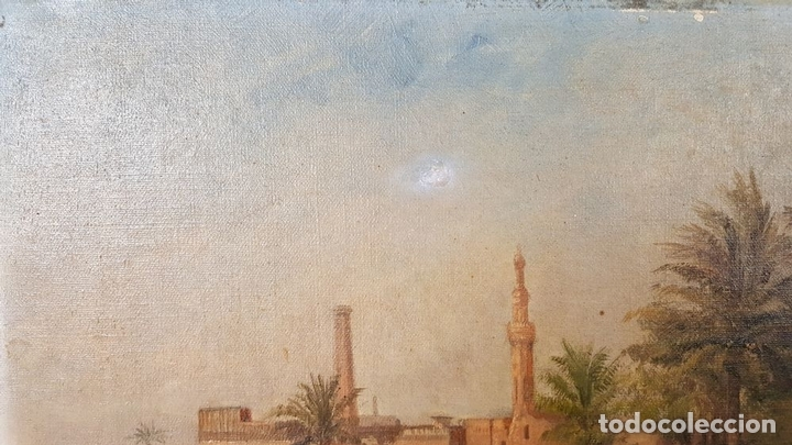 Arte: PAISAJE ORIENTALISTA. EGIPTO. ÓLEO SOBRE LIENZO. VOITLER BILLNEY. SIGLO XIX. - Foto 4 - 87237096