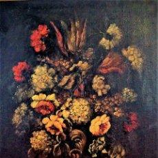 Arte: JARRÓN CON FLORES. ÓLEO SOBRE LIENZO. SIN FIRMA. ESPAÑA. SIGLOS XIX-XX. Lote 87240504