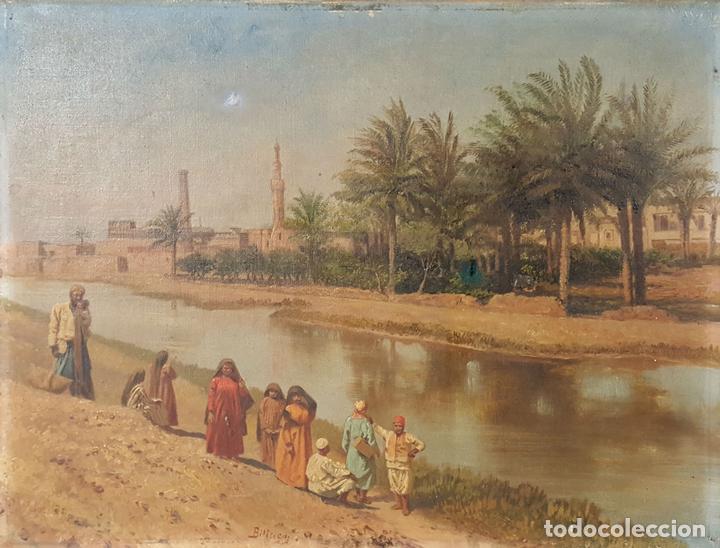 PAISAJE ORIENTALISTA. EGIPTO. ÓLEO SOBRE LIENZO. VOITLER BILLNEY. SIGLO XIX. (Arte - Pintura - Pintura al Óleo Moderna siglo XIX)