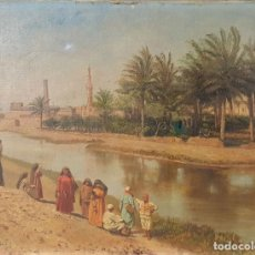 Arte: PAISAJE ORIENTALISTA. EGIPTO. ÓLEO SOBRE LIENZO. VOITLER BILLNEY. SIGLO XIX.. Lote 87237096