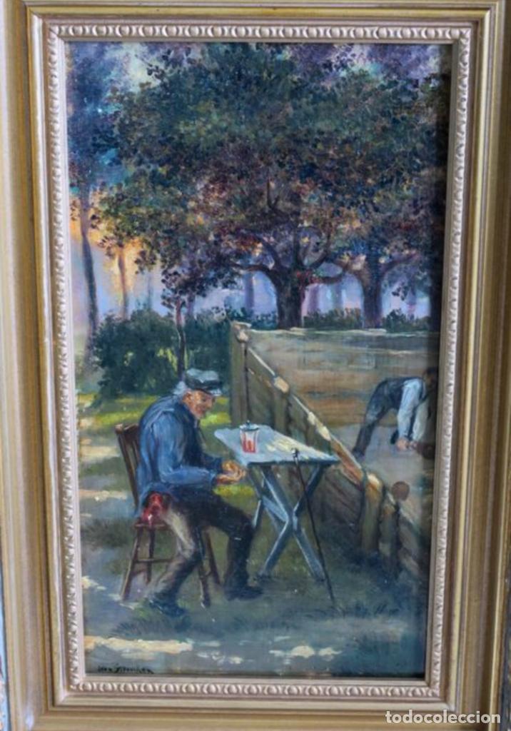 Arte: Óleos sobre tabla de JEAN STOUCKEN, 21x315 cms con marcos antiguos. - Foto 3 - 87337684