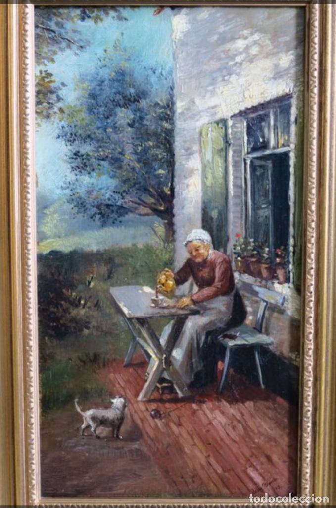 Arte: Óleos sobre tabla de JEAN STOUCKEN, 21x315 cms con marcos antiguos. - Foto 4 - 87337684