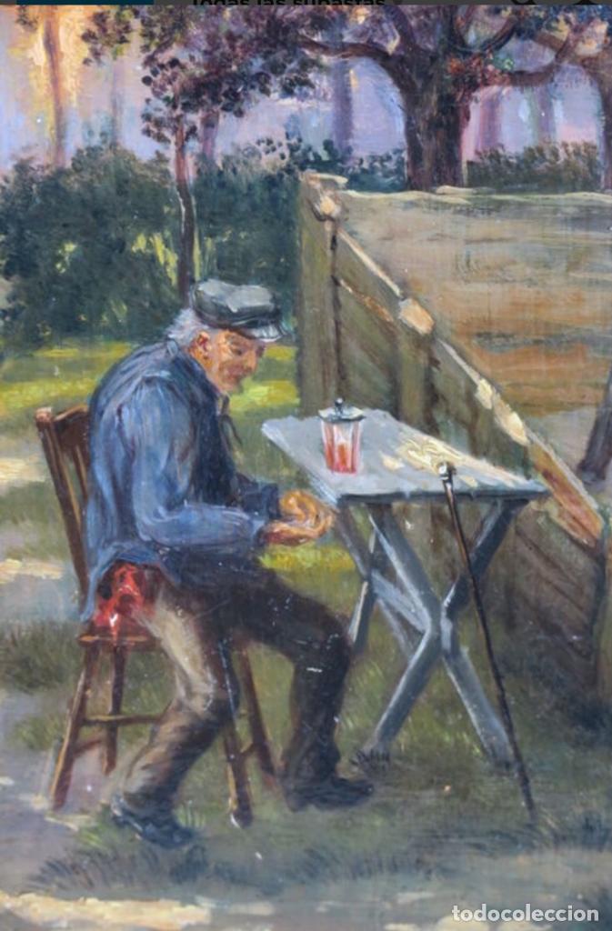Arte: Óleos sobre tabla de JEAN STOUCKEN, 21x315 cms con marcos antiguos. - Foto 5 - 87337684