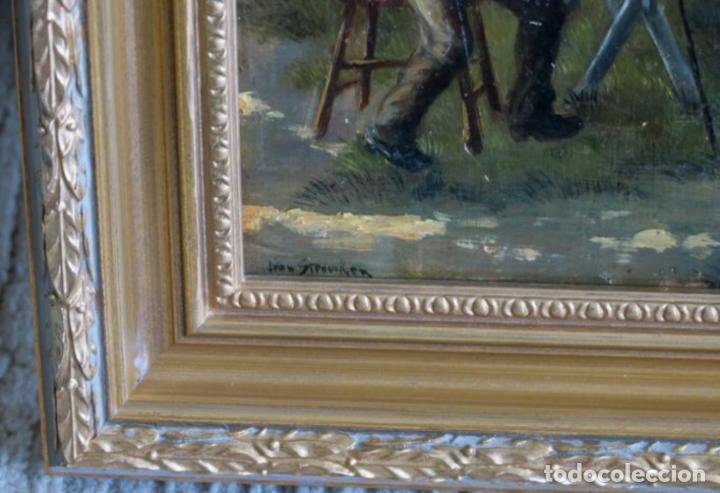 Arte: Óleos sobre tabla de JEAN STOUCKEN, 21x315 cms con marcos antiguos. - Foto 7 - 87337684