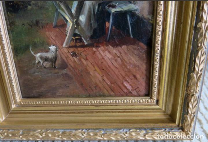 Arte: Óleos sobre tabla de JEAN STOUCKEN, 21x315 cms con marcos antiguos. - Foto 8 - 87337684