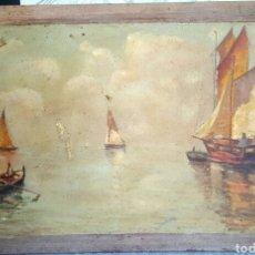 Arte: CLIMENT LAPORTA, OLEO SOBRE TABLA, ANTIGUA PINTURA, MARINA, ESCUELA VALENCIANA. XIX-XX. Lote 87420656
