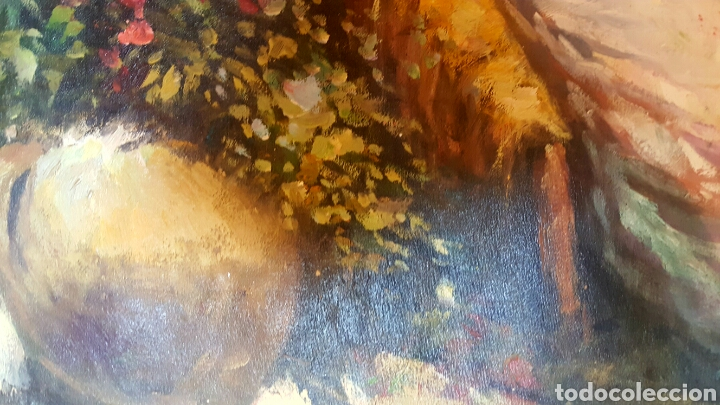 Arte: PRECIOSO OLEO SOBRE LIENZO, ESCUELA VALENCIANA, MUJER EN EL CAMPO. ENMARCADO. - Foto 3 - 87422828