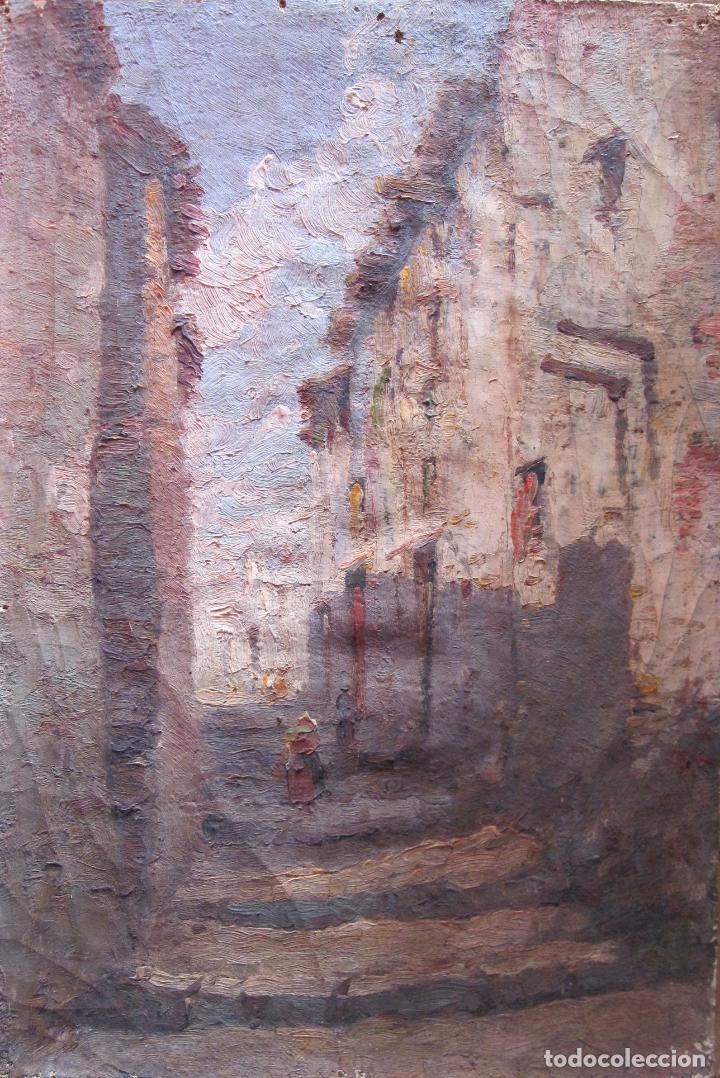 ESCENA RURAL ESCUELA CATALANA HACIA 1900 OLEO SOBRE TELA SEGUIDOR URGELL 24 X 16 CM (Arte - Pintura - Pintura al Óleo Moderna siglo XIX)